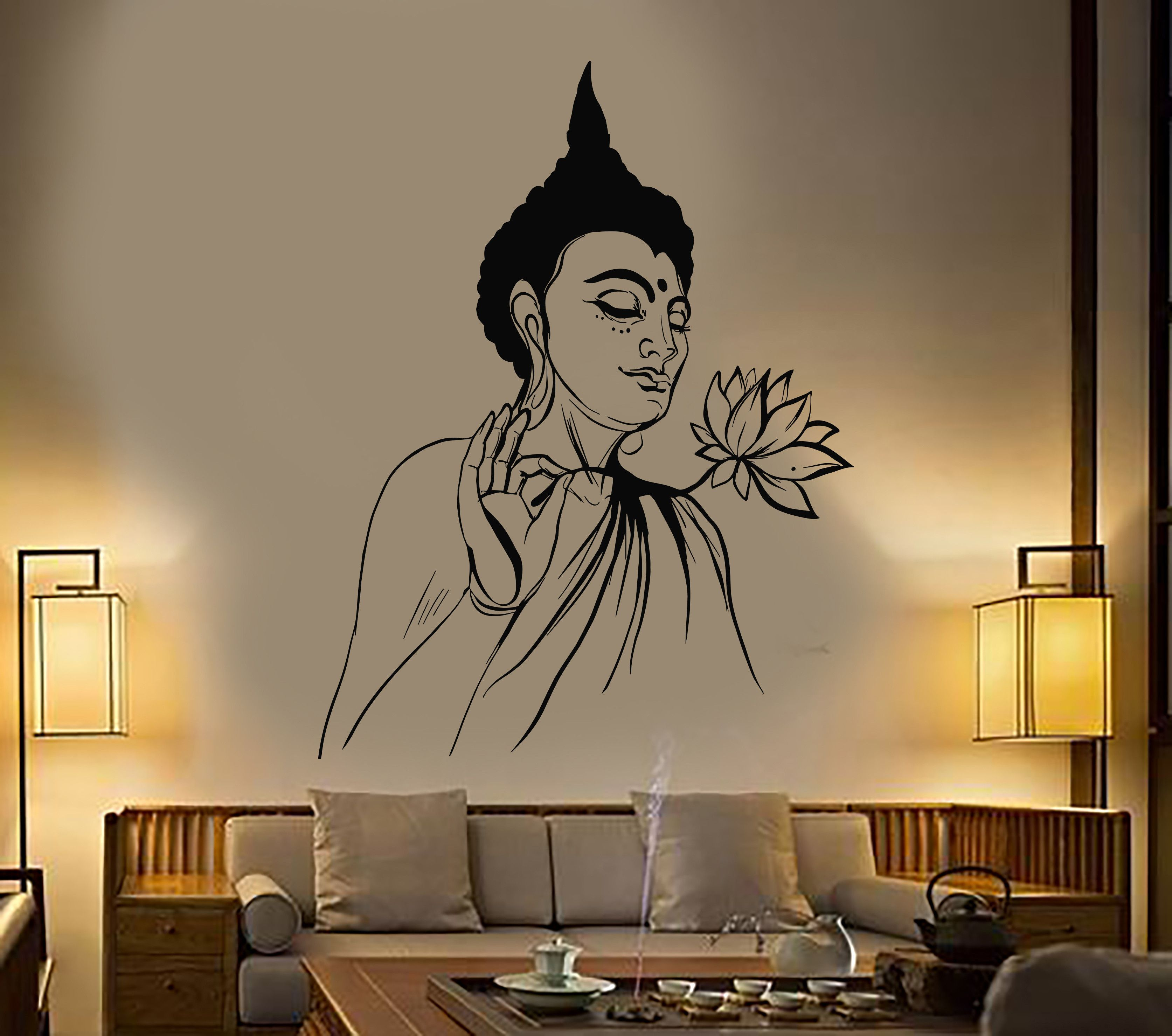vinyl wall decal buddha lotus flower buddhism yoga on wall stickers painting id=16516