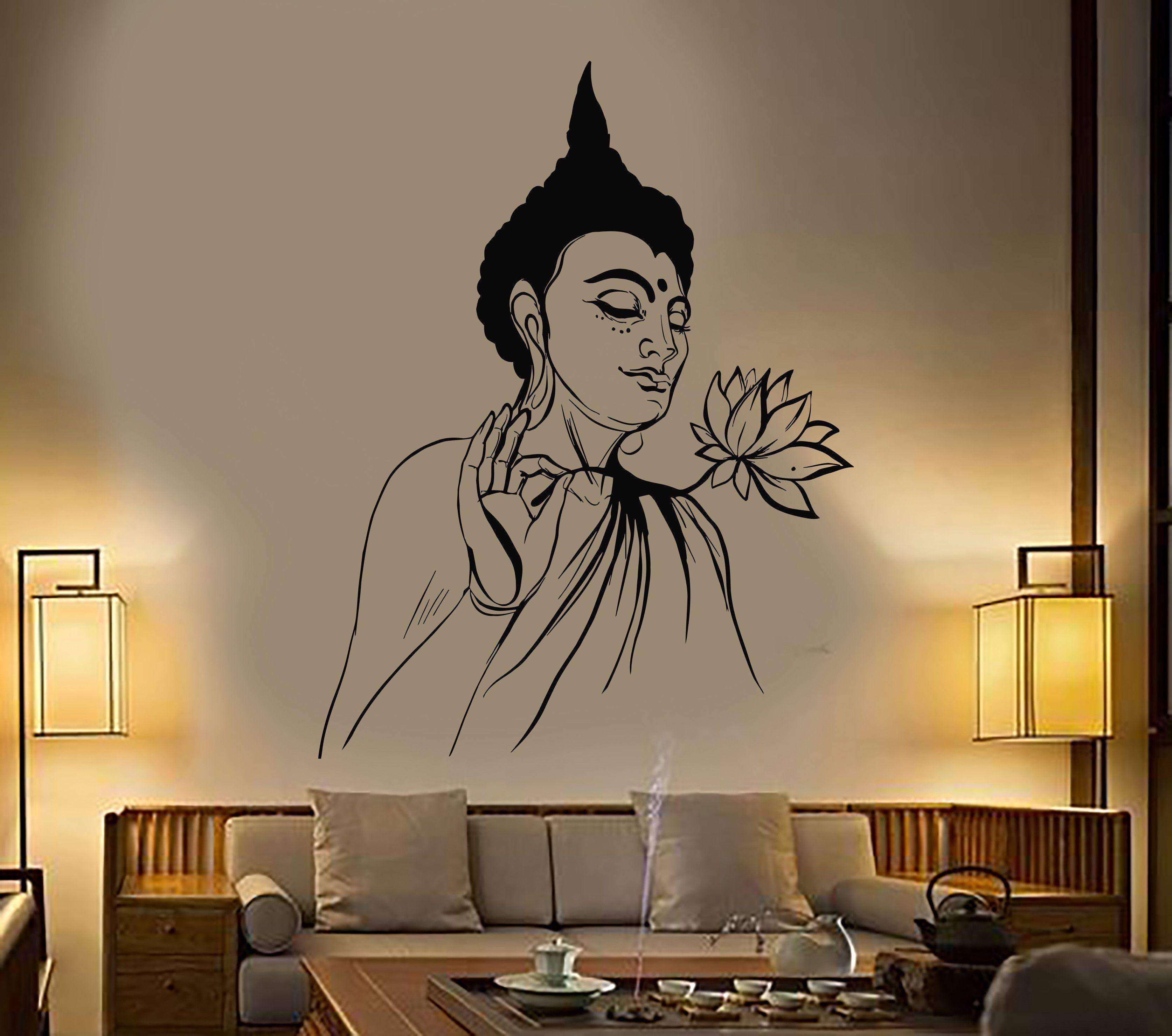 Vinyl Wall Decal Buddha Lotus Flower Buddhism Yoga