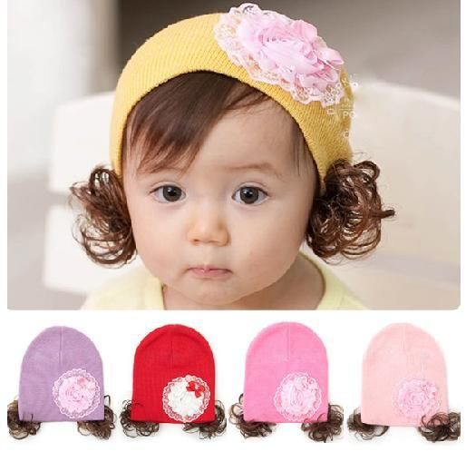 69b57ab5a Nice Kids' Cap Winter Warm Hat Baby Girl Wig Cap Big Flower Hat ...