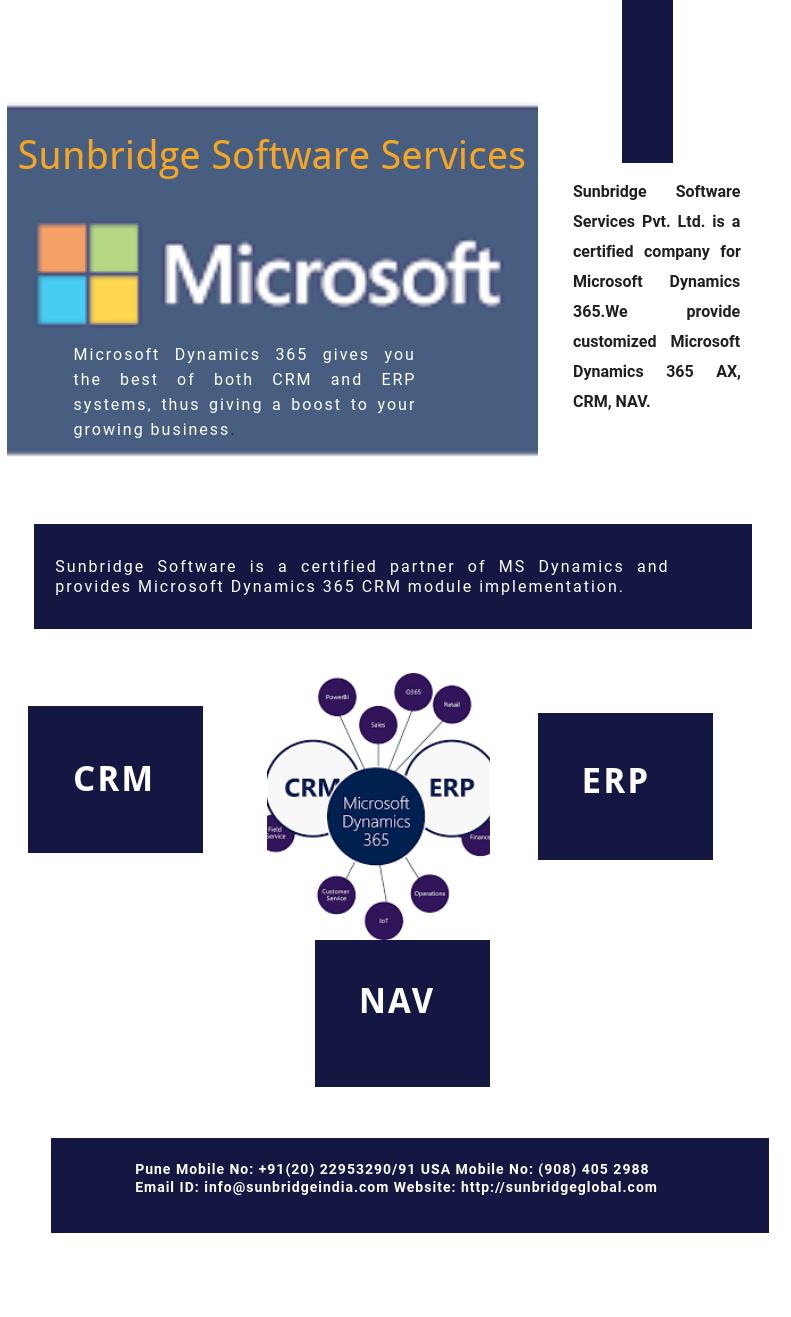 Sunbridge Software is a Microsoft Dynamics 365 Enterprise