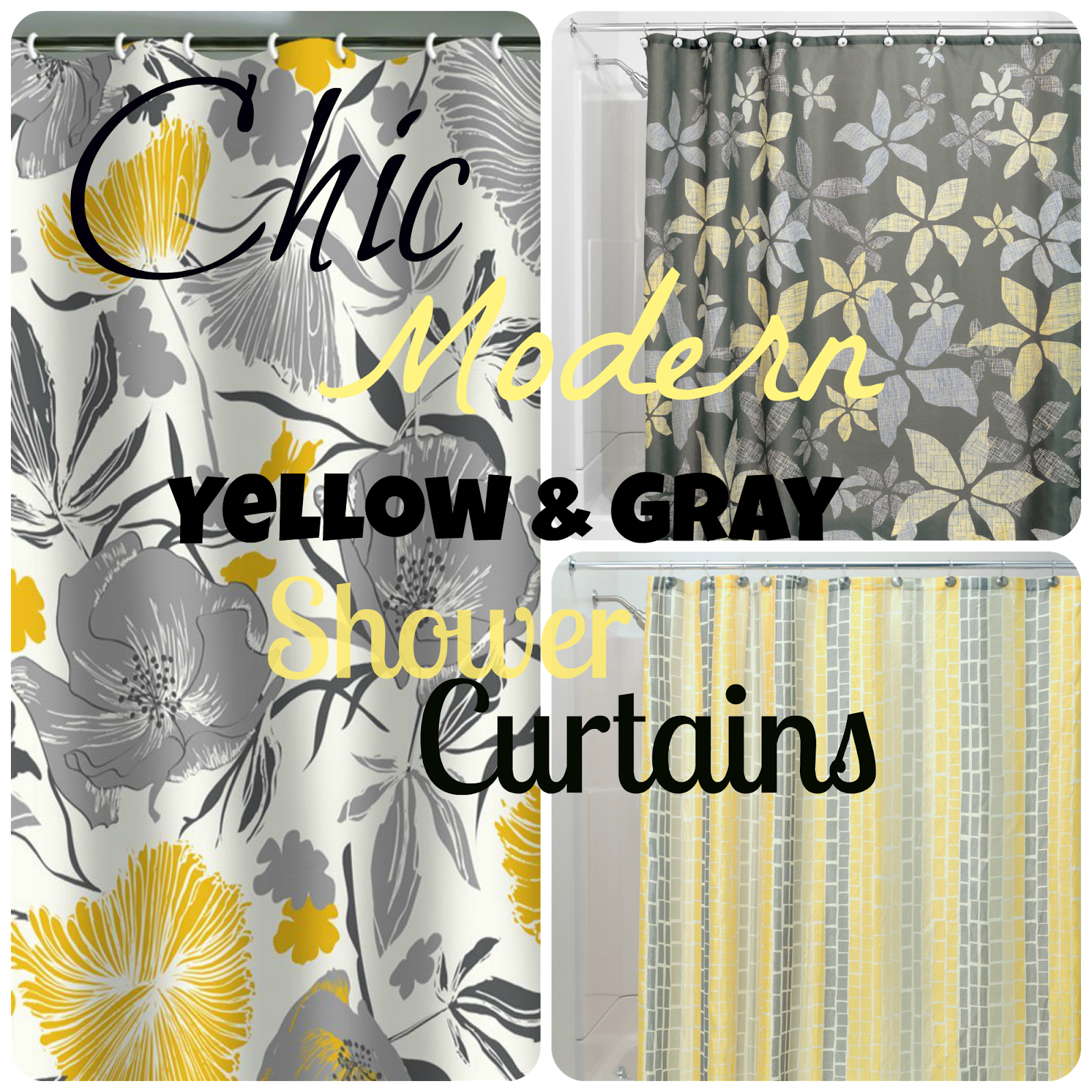 Superior Chic U0026 Affordable Yellow And Gray Shower Curtains