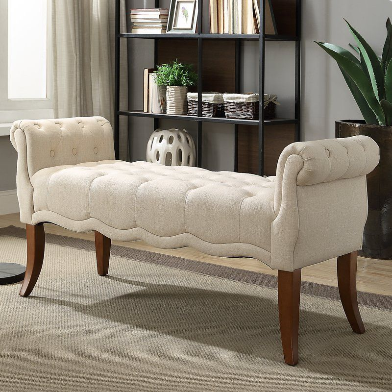 Campbell Roll Arm Upholstered Bench Upholstered Bench Furniture Elegant Benches Elegant benches for living room