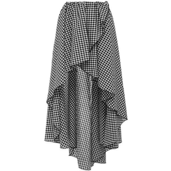 Caroline Constas Adelle Asymmetrical Wrap Skirt Gingham Skirt Hi Low Skirts Wrap Skirt