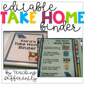 Student Take Home Binder {Editable} | Special education ...