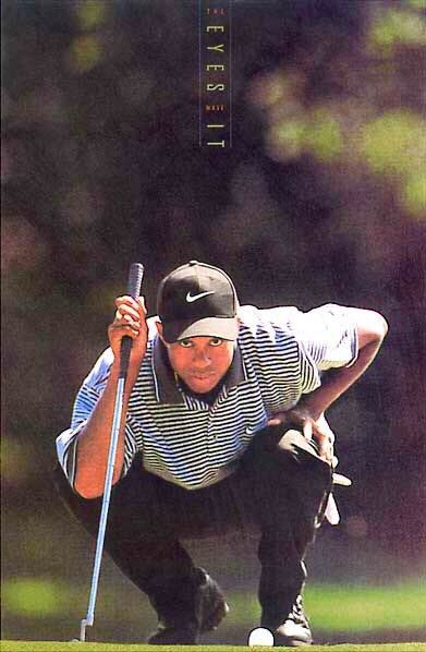 Tiger Woods Eyes Have It Nike Original Golf Poster Excellent