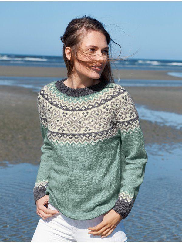 Photo of Lana Grossa Pullover mit rundem Pass im Jacquardmuster Slow Wool Lino – Filati No. 58 (Herbst / Winter 2019/20) – Modell 15 | FILATI.cc Online-Shop