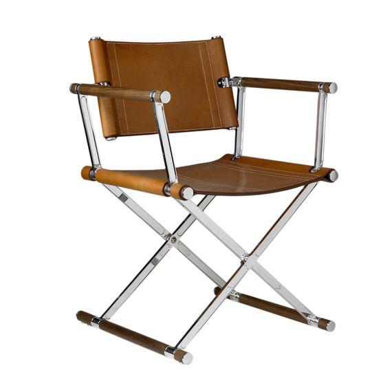Italian Ren Modern Directors Chair Seating Leather Metal By