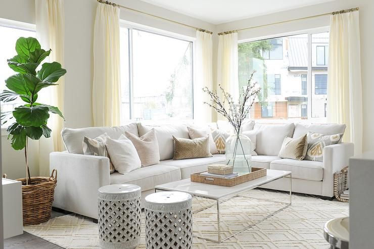 Off White Sectional With Pink And Gray Pillows Transitional Living Room Living Room White Leather Couches Living Room White Sectional Sofa