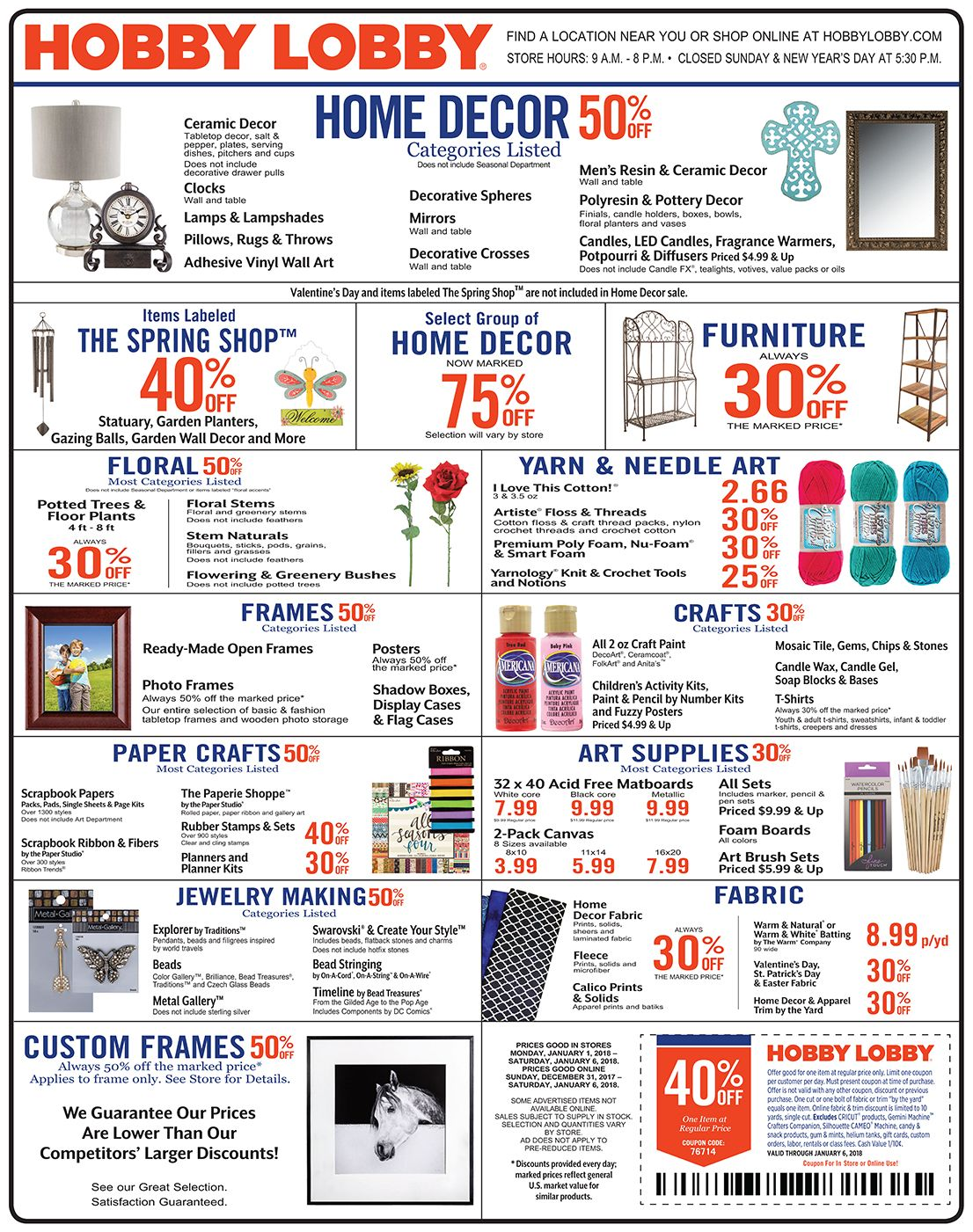 Hobby Lobby Weekly Ad Prices Good Through January 6th