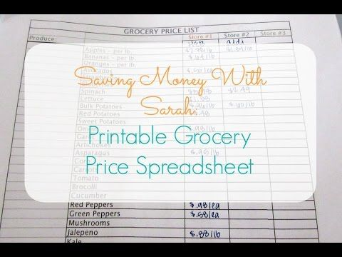 Free Printable Grocery Price Spreadsheet   wwwyoutube