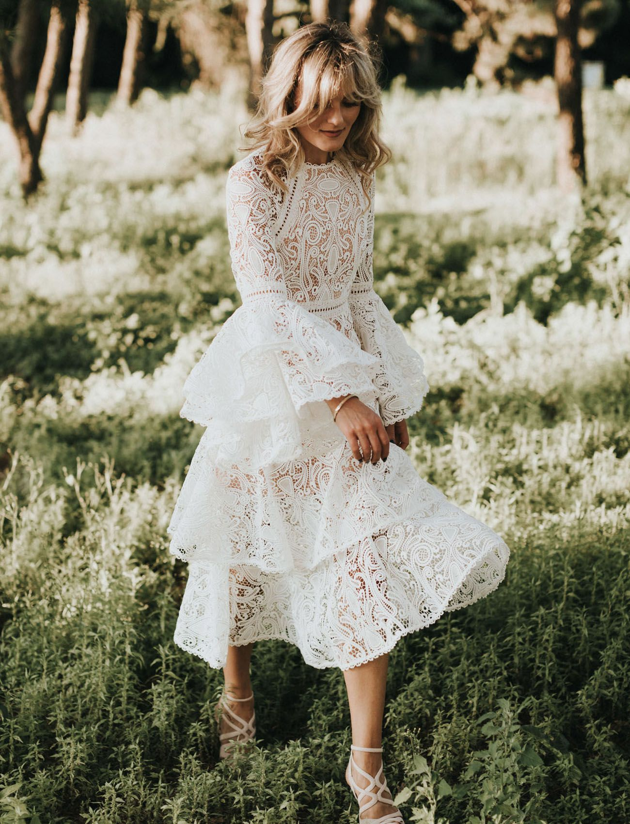 Summer lace wedding dress with bell sleeves boho wedding dress