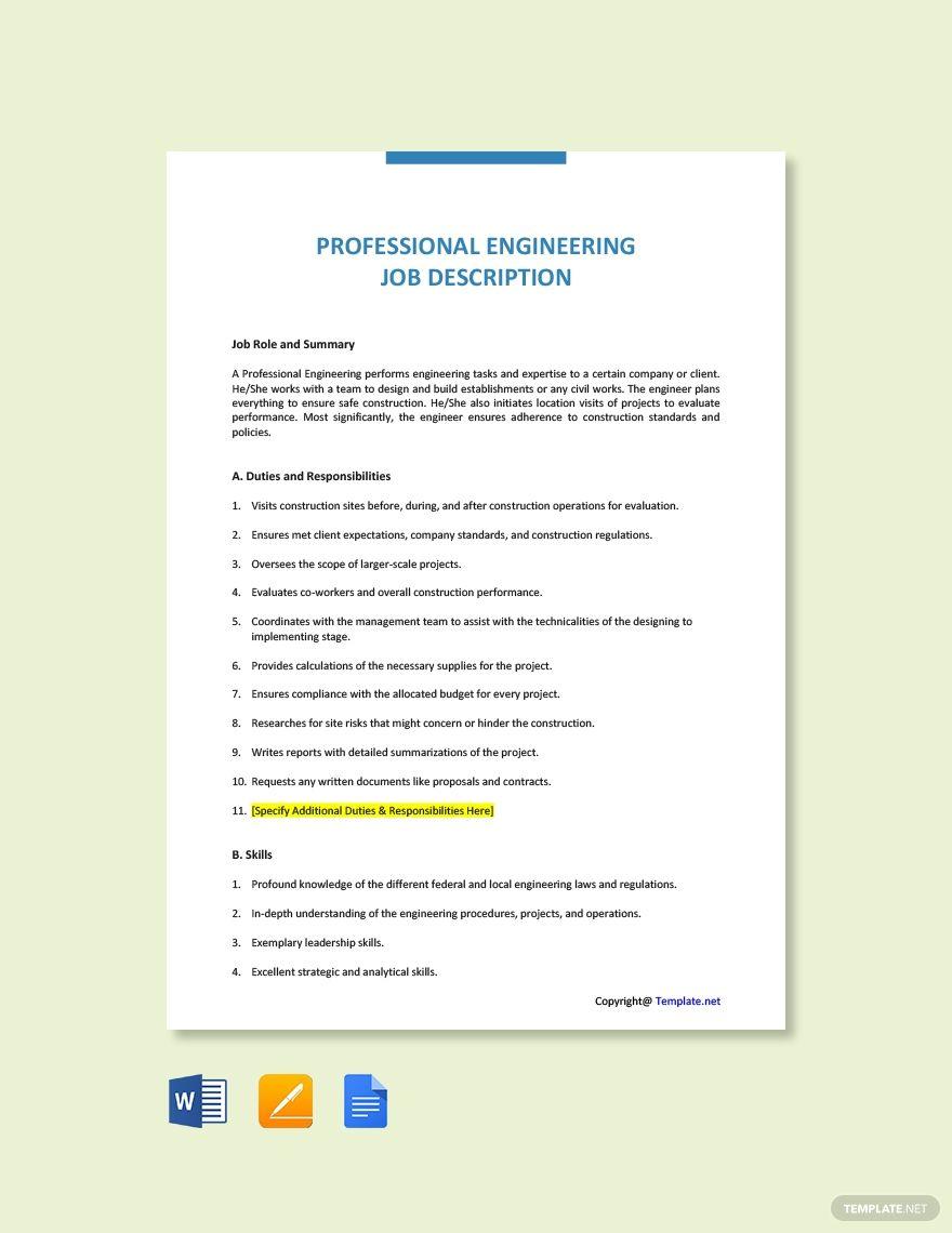 Free Professional Engineering Job Ad and Description