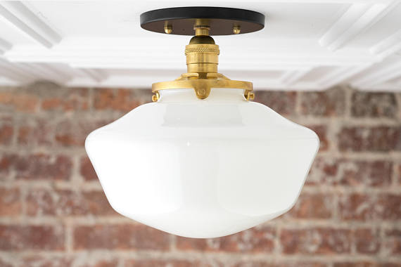 Schoolhouse fixture opal ceiling light light fixtures mounted lamp mid century opal