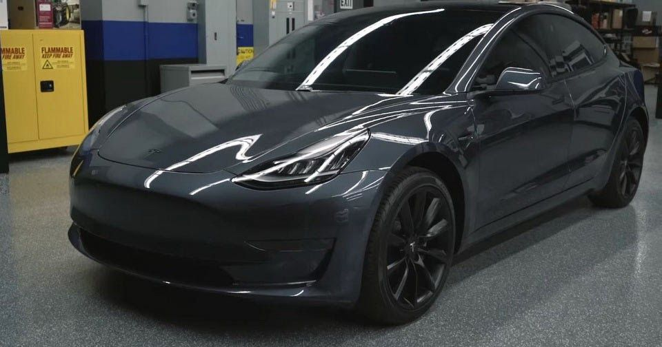 Midnight Silver Metallic Tesla Model 3 Shows Its Darker Side With