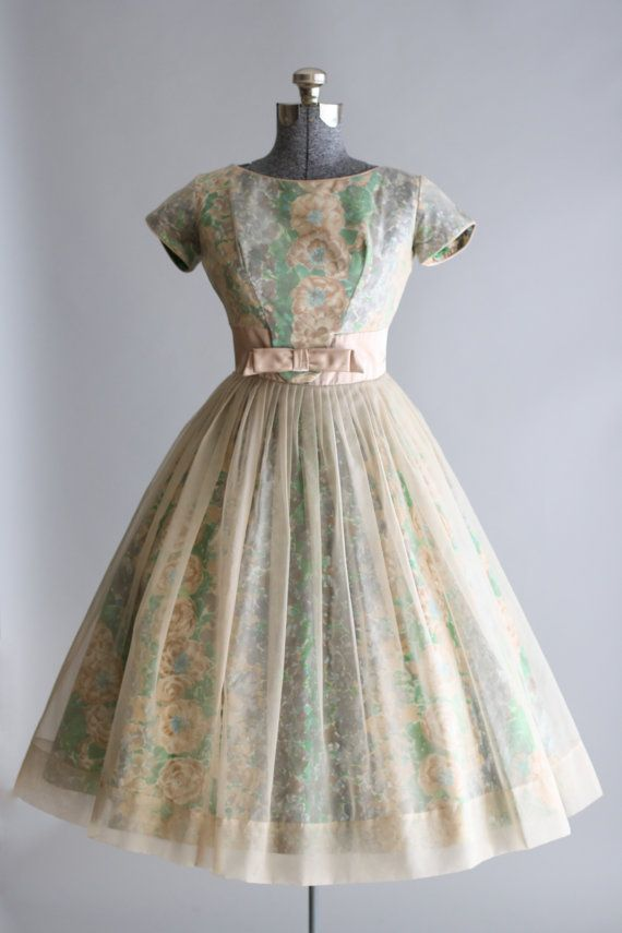 308aade18330 Vintage 1950s Dress / 50s Prom Dress / Muted Floral Party Dress w ...