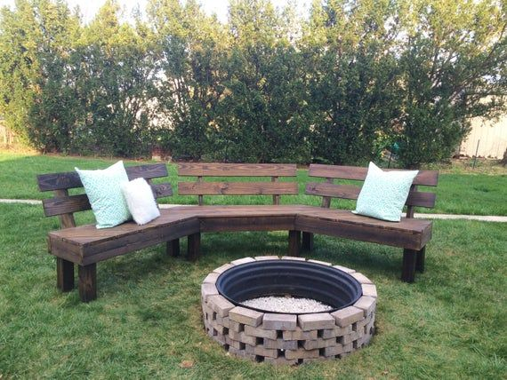 Photo of Items similar to Outdoor Fire Pit Bench, Fire Pit, DIY Fire Pit Bench, Outdoor Bench, Rustic Bench, Summer Bench on Etsy
