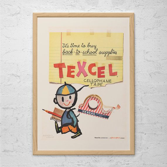 VINTAGE OFFICE POSTER - Cute Kids Retro Ad - School Library Wall Art ...