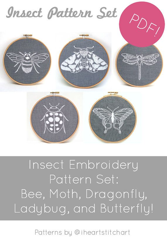 PDF embroidery pattern set, insect patterns, hand embroidery pattern ...