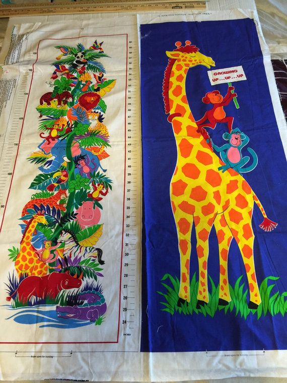 Vintage Vip Cranston Print Works Rainbow Jungle Growth Chart Fabric