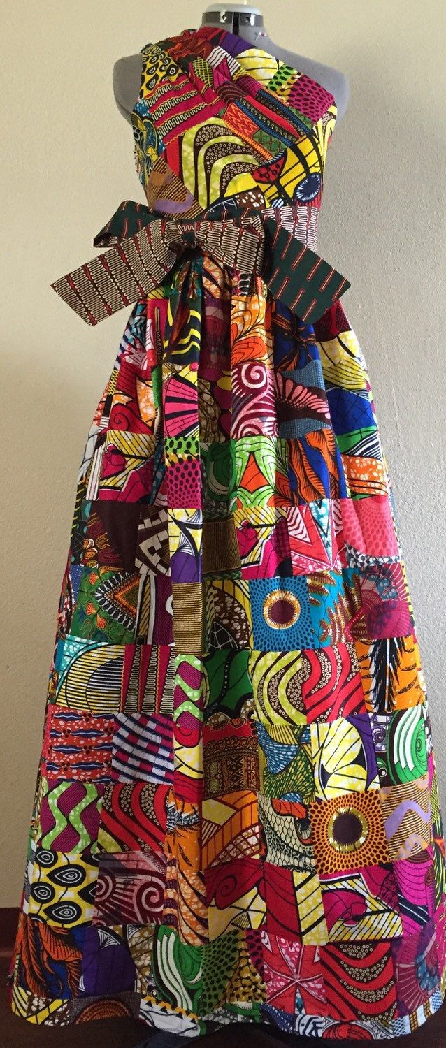 Magnificent Reversible Patchwork One Shoulder Maxi Dress Rock Two Looks in 1 African Wax Print 100% Cotton by WithFlare on Etsy https://www.etsy.com/listing/286861631/magnificent-reversible-patchwork-one