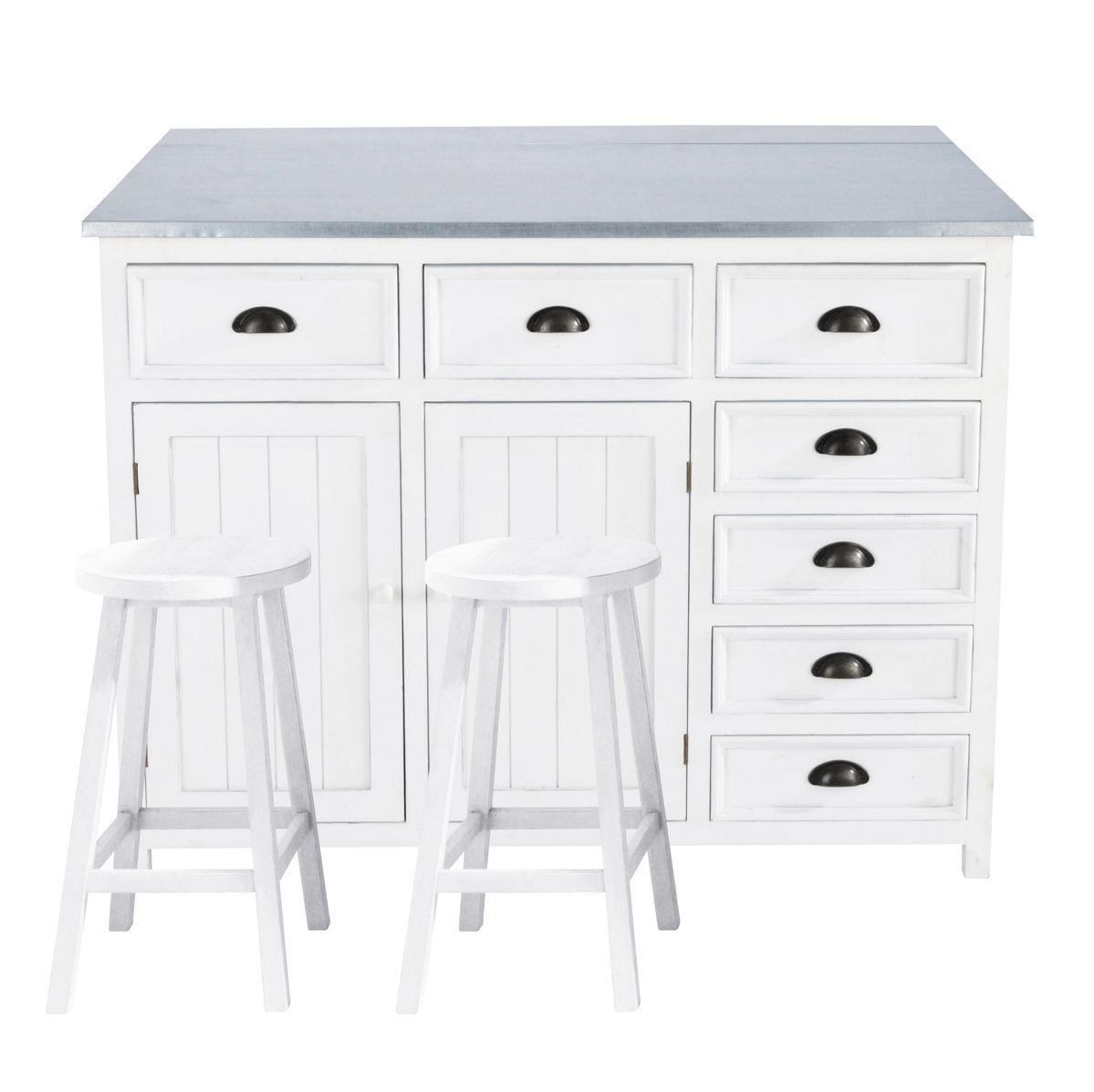 Kücheninsel aus Holz, B 120 cm, weiß | Kücheninsel, Holz und Küche