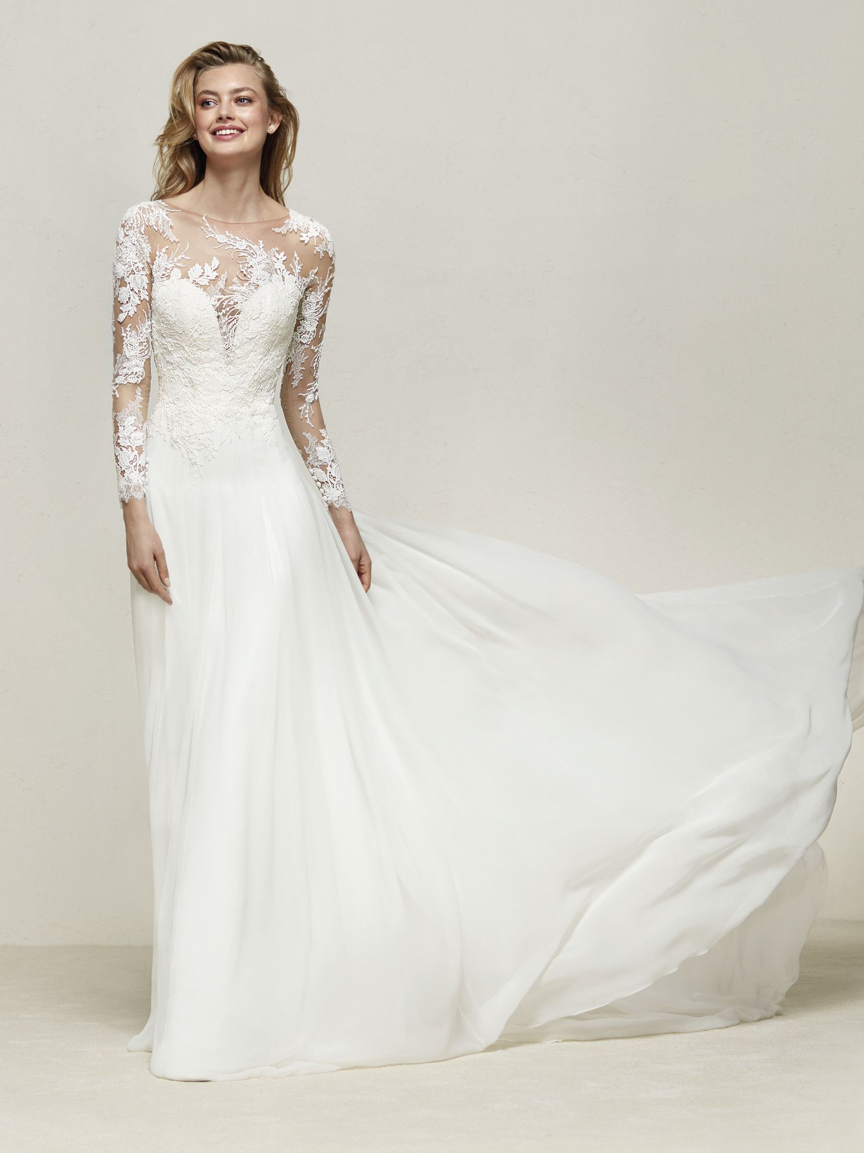 Cool Classic Long Sleeve A line Lace Embroidered DRESAL Pronovias Bridal Dress