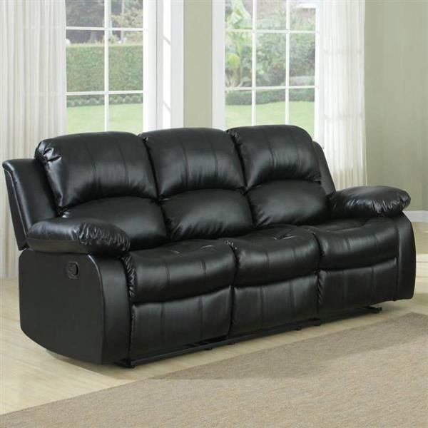 Cranley Black Wood Bonded Leather Reclining Sofa