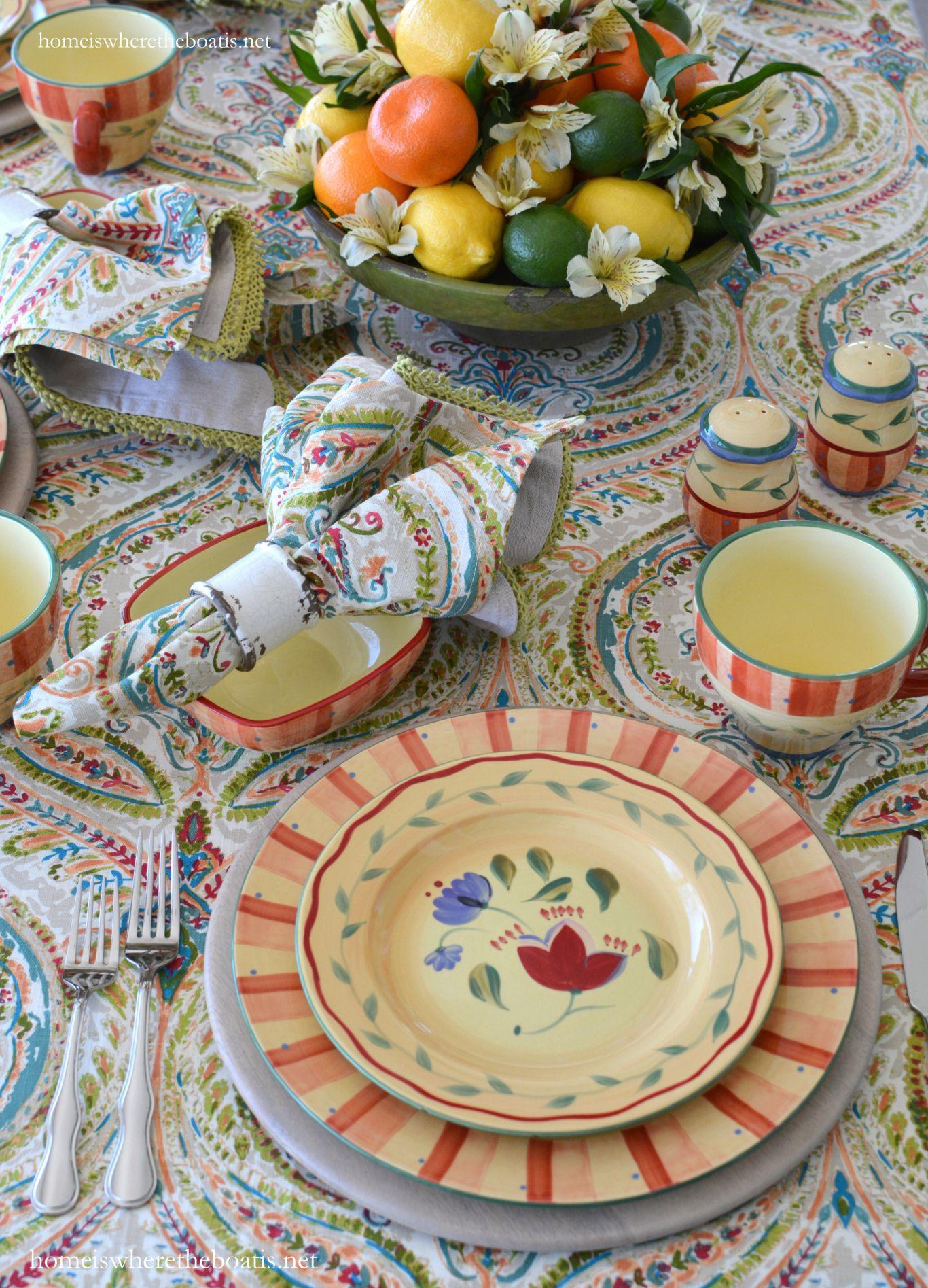 Citrus centerpiece and Pfaltzgraff Napoli Dinnerware | homeiswheretheboatis.net #tablescape & Citrus centerpiece and Pfaltzgraff Napoli Dinnerware ...