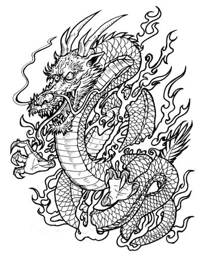 Dragon No 2 Japanese Sick Drawings Snake Coloring Pages