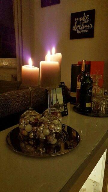 Dekoration #Wohnzimmer #Kerzen #gedämpftes Licht #DIY
