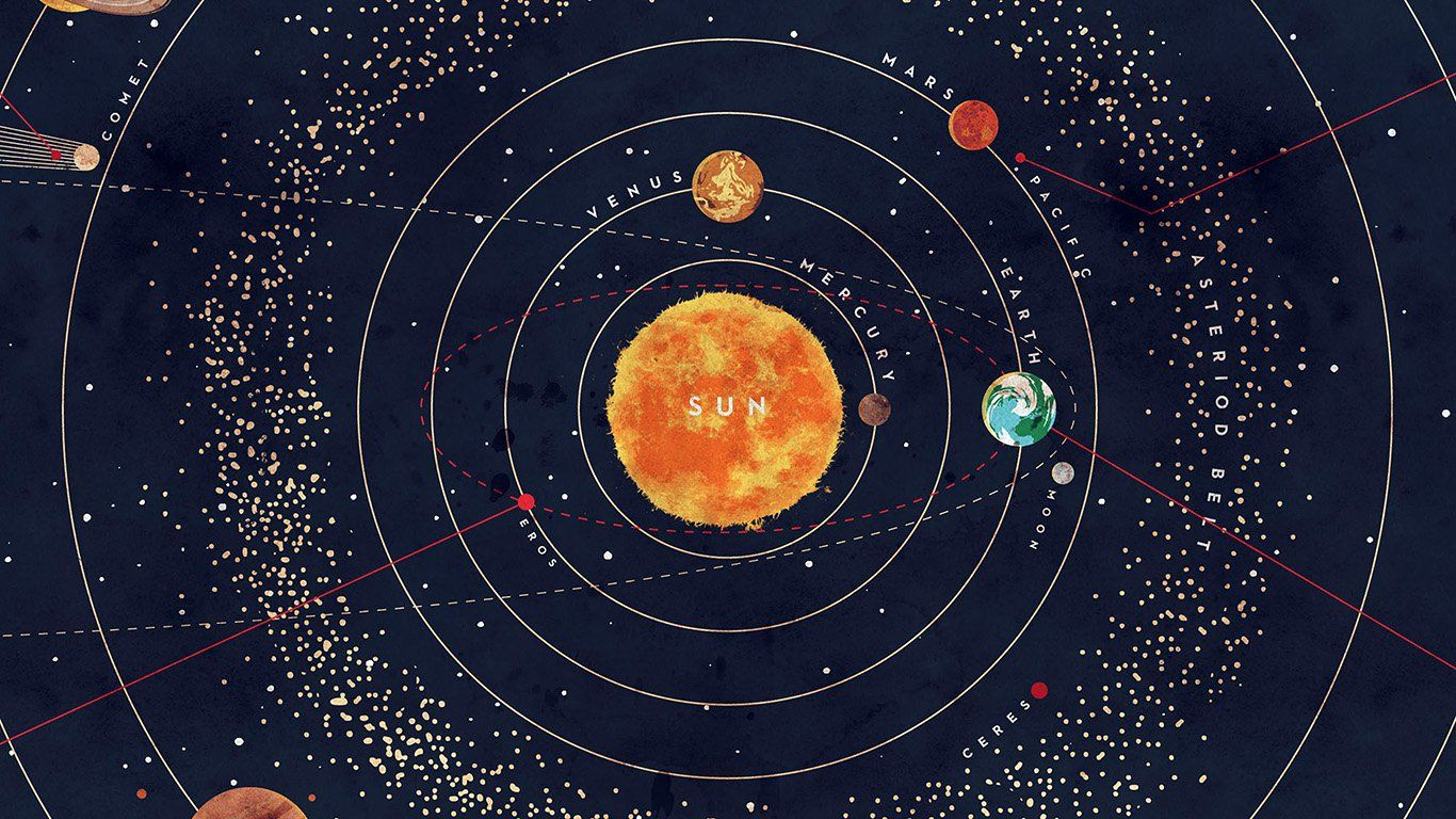 Ar63 Solar System Space Art Cover Red Blue System Wallpaper