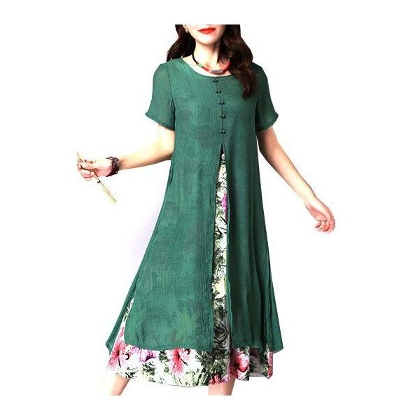 Rotita Round Neck Flower Print Fake Two Piece Dress (1.720 RUB) ❤ liked on Polyvore featuring dresses, green, floral dresses, two-piece dress, green print dress, flower print dress and short sleeve dress