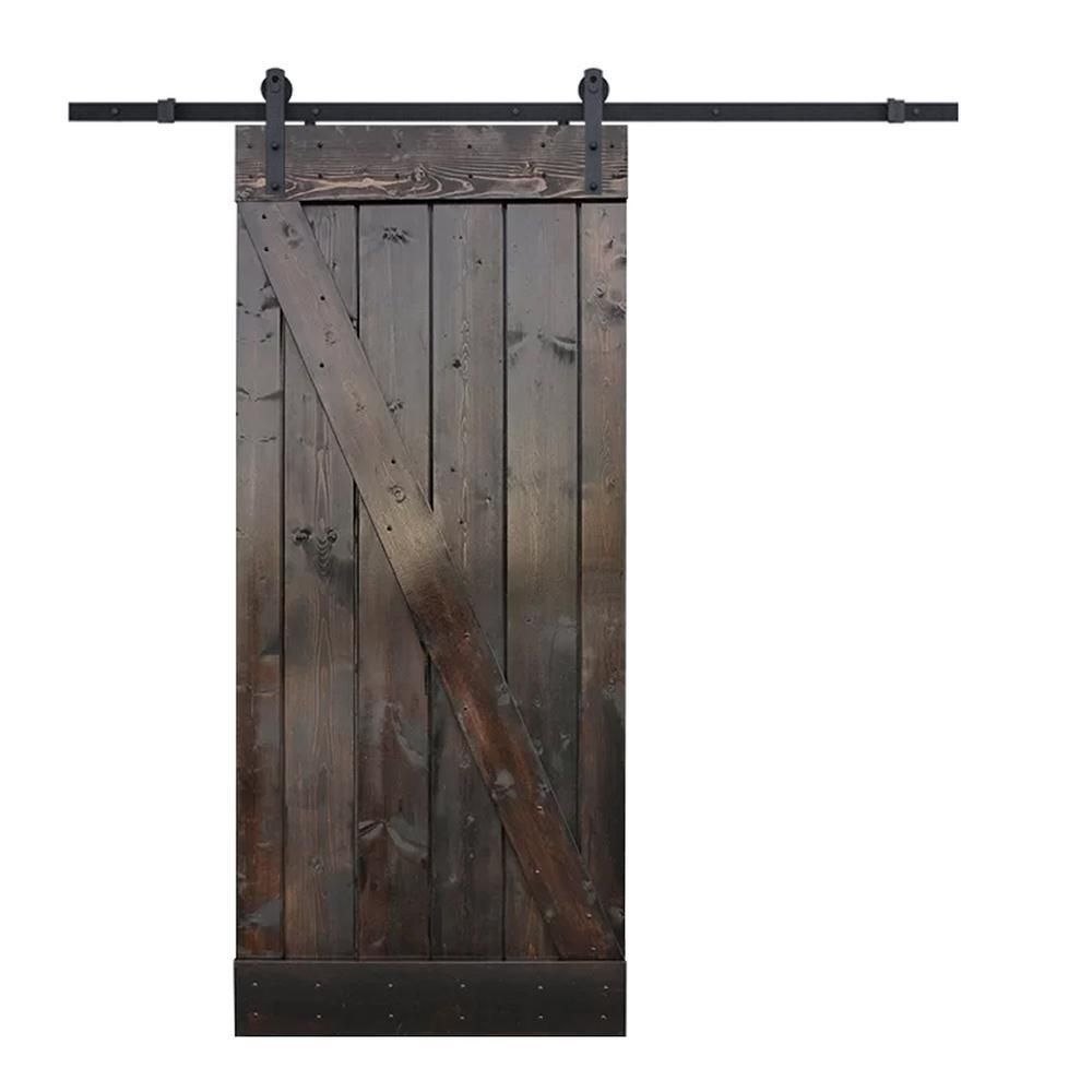 Calhome 24 In X 84 In Z Bar Dark Coffee Wood Sliding Barn Door With Sliding Door Hardware Kit Sdh Tsq04 Dk 72 Diy B24c Glass Barn Doors Sliding Door Hardware Barn Doors Sliding
