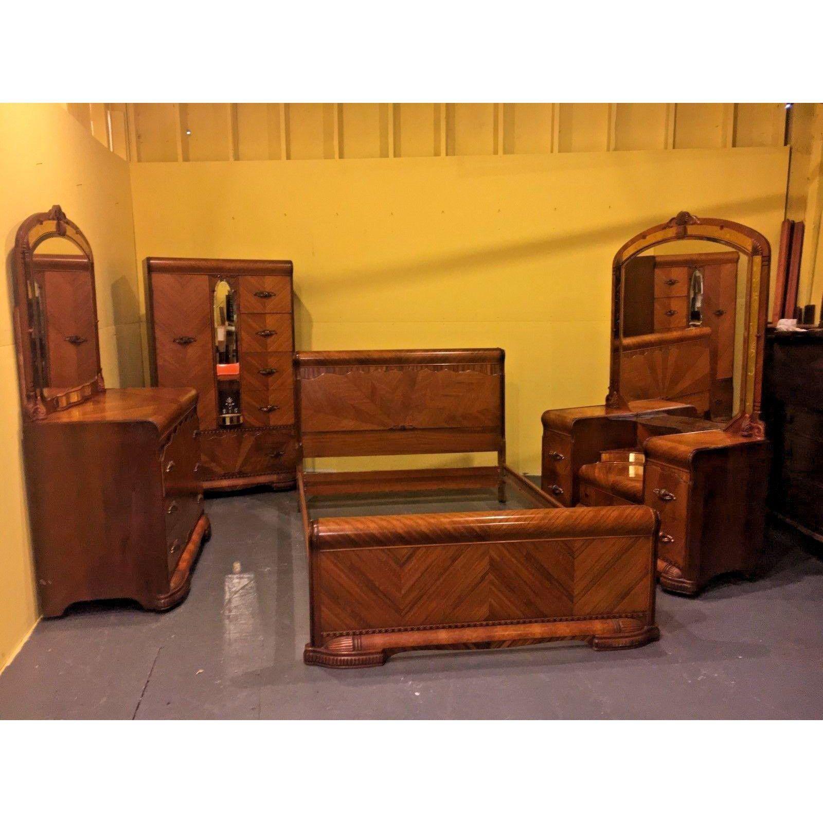 Image Of Art Deco 4 Piece Waterfall Anique Bedroom Set