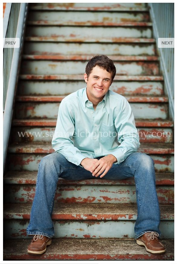 stairs senior poses boy