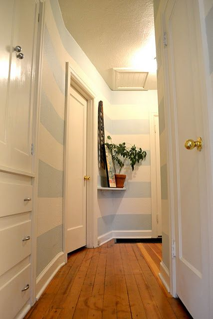 Painting stripes in a hallway - might be easier because you\'d only ...