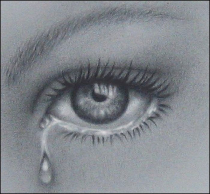 Pencil Drawings Detailed Eye With Tear Focus On The Detail Of