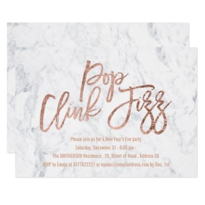 Pop clink fizz script white marble New Years Eve Card | White marble