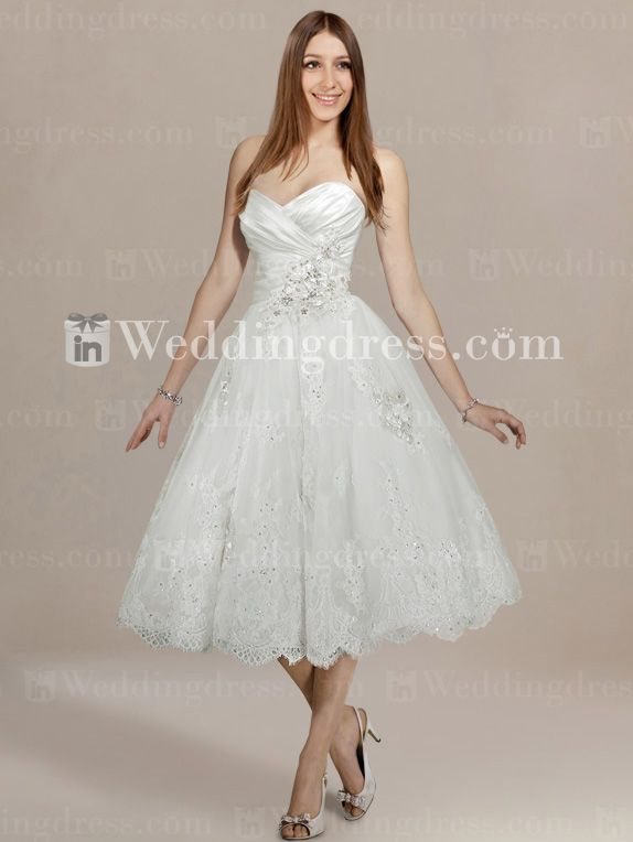 Strapless Informal Short Wedding Dress With Lace And Beading Bc261
