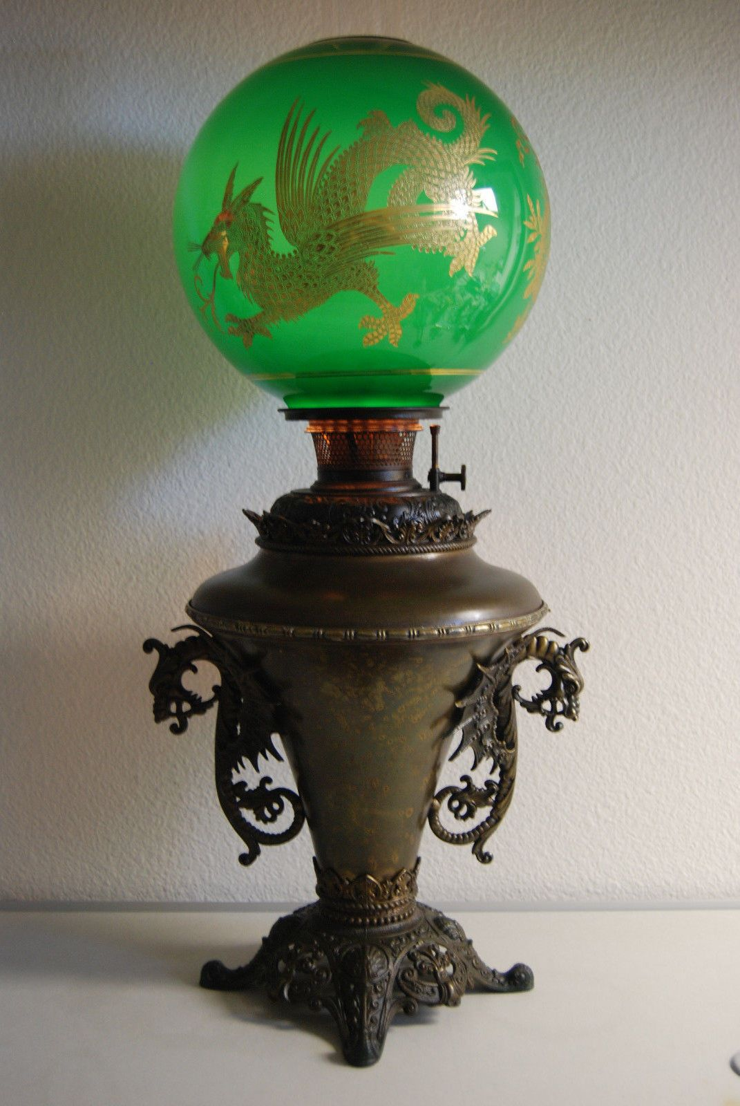 Dragon Lamps For Sale Details About Antique Kerosene Oil Gwtw B H Chinese Dragon Emerald