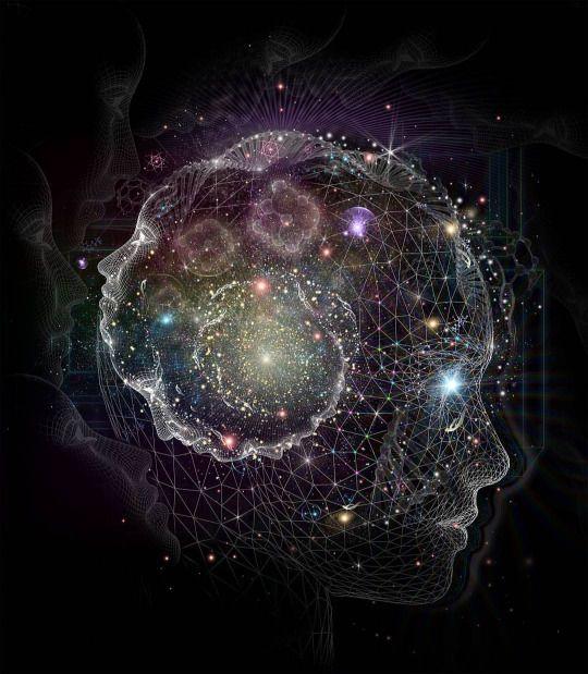 The Art of Samuel J Farrand. - Die Spiralbewegung entgegen dem Uhrzeigersinn symbolisiert den Lauf vom Bewussten zum Unbewussten.