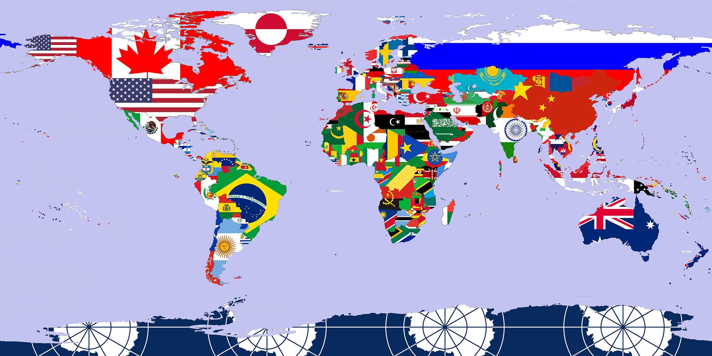 Wereldkaart Flags Vlag Wereldkaart Vlaggen