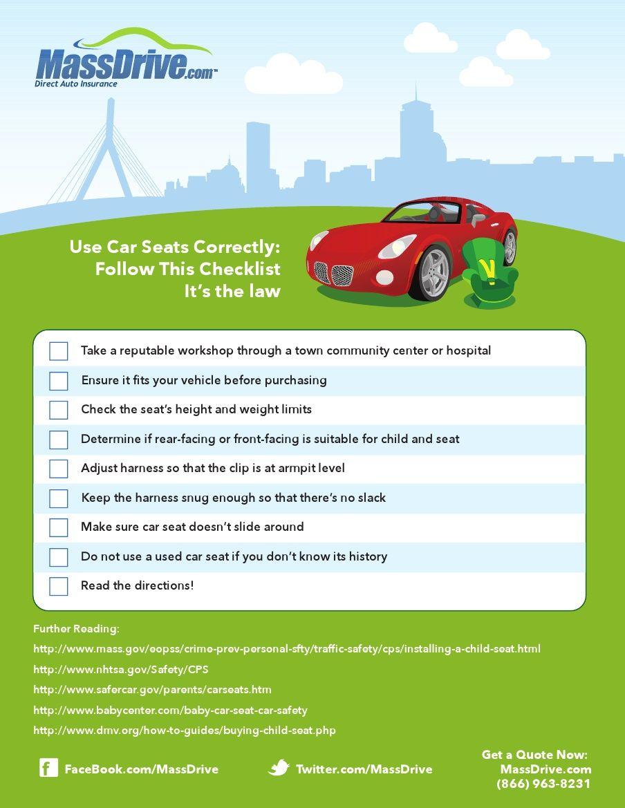 Installing a Car Seat Checklist Car seats, Driving