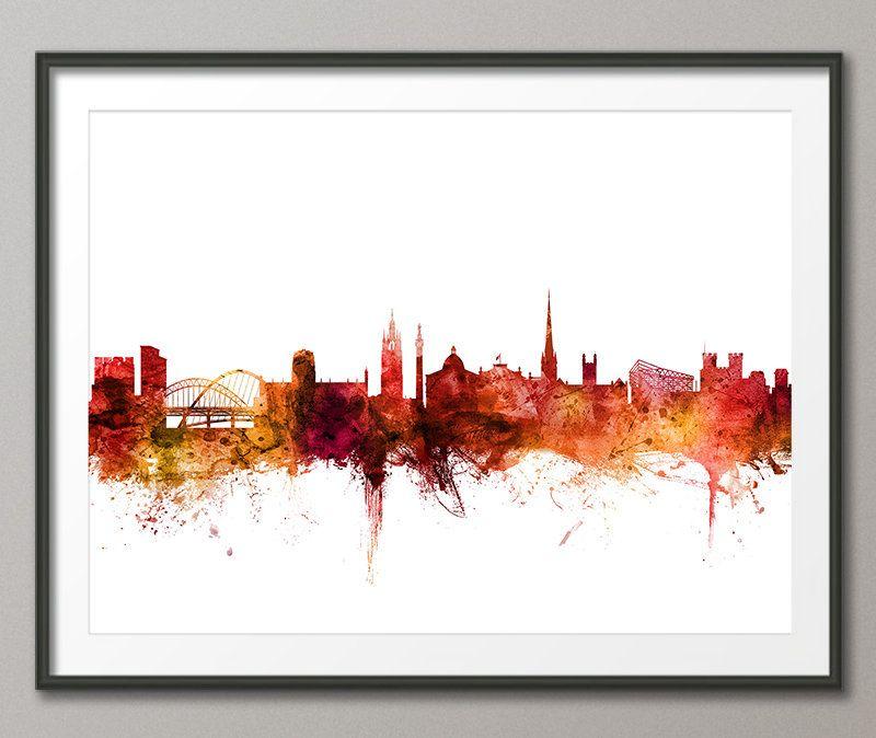 Newcastle Skyline Newcastle England Cityscape Art Print Red