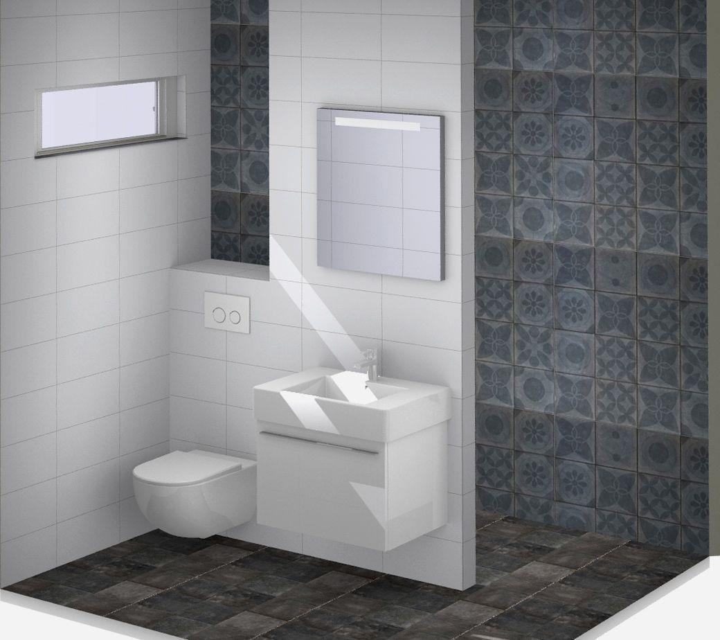 witte badkamer met bruine banen in de tegelwanden en verlichting