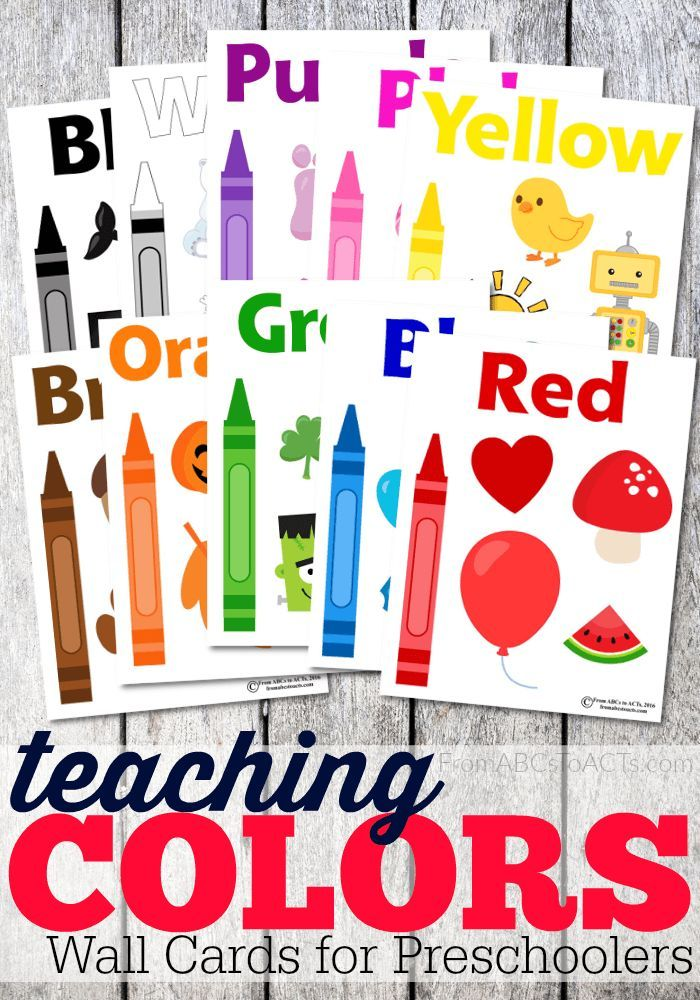 Teaching Colors Wall Cards For Toddlers Preschool