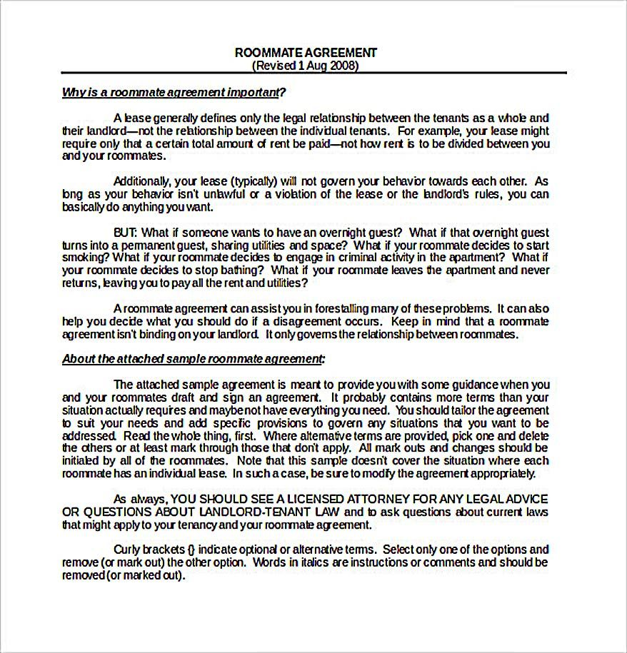 Sample Download Roommate Agreement Template1 How To Create Your Own Roommate Agreement Template Easily Roommate Agreement Template Is Easy And Helpful For F