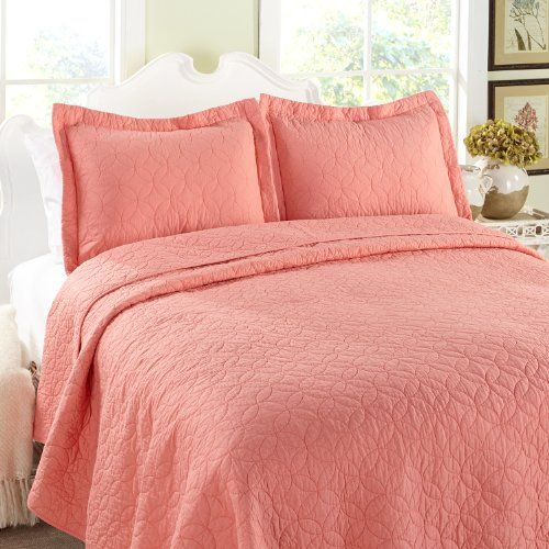 Laura Ashley Full//Queen Coral Quilt Set