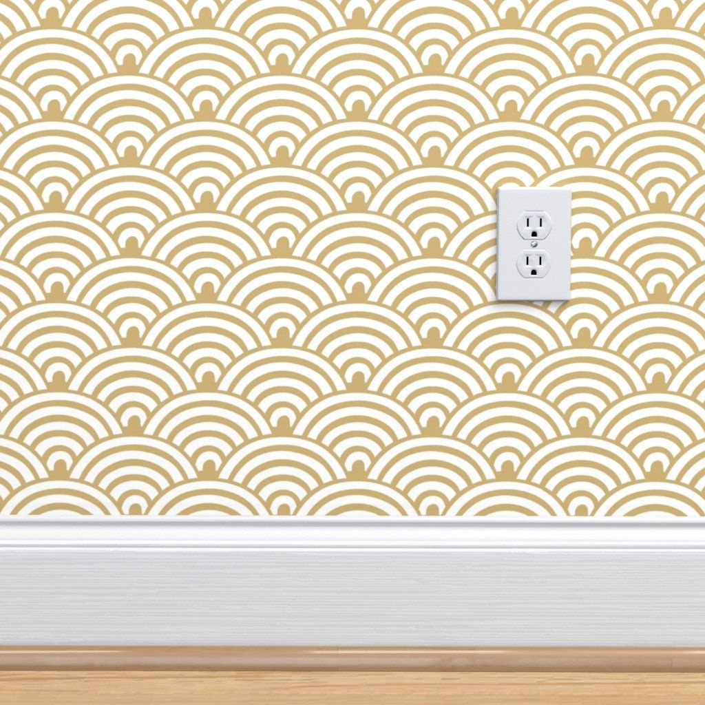 Golden yellow ochre and white scalloped rainbow wallpaper