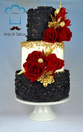 Black Red And Gold Fabulous Wedding Cake Red Black